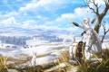 Картинка животные, девушка, снег, улыбка, лошадь, арт, живопись