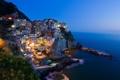 Картинка ночь, город, фото, фонари, Италия, Риомаджоре, Лигурия