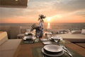 Картинка океан, вечер, яхта, ужин