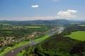 Картинка небо, деревья, мост, город, река, Германия, долина