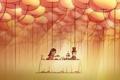 Картинка романтика, рисунок, пара, Обои, чаепитие, свидание, ужин