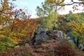 Картинка осень, небо, листья, деревья, пейзаж, горы, камни
