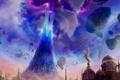 Картинка облака, магия, звезды, здания, небо
