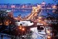Картинка зима, мост, город, река, здания, Будапешт