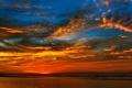 Картинка закат, облака, горизонт, небо, зарево, море