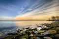 Картинка море, небо, солнце, пейзаж, закат, природа, камни