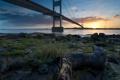 Картинка пейзаж, закат, мост, река, Old Severn Bridge