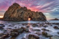 Картинка пляж, скала, океан, рассвет, USA, США, State California