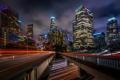 Картинка ночь, мост, город, выдержка, США, Лос Анджелес, Downtown LA