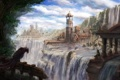 Картинка город, птица, арт, руины, водопады