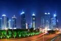 Картинка ночь, огни, небоскребы, фонари, Китай, Шанхай, автострада