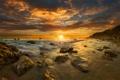 Картинка море, пляж, небо, облака, закат, камни, побережье