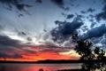 Картинка закат, пейзаж, горизонт, небо, облака, море, природа