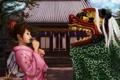 Картинка девушка, дракон, голова, арт, костюм, кимоно, ebi