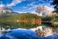 Картинка лес, горы, природа, озеро, отражение, дома
