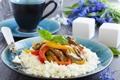 Картинка зелень, перец, рис, rice, гарнир, pepper, vegetables