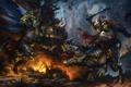 Картинка динозавр, меч, щит, минотавр, battle
