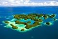 Картинка зелень, острова, океан, Море