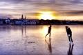 Картинка лед, люди, дома, каток, Исландия