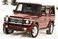 Картинка снег, красный, джип, mercedes-benz, мерседес, передок, amg