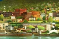 Картинка деревья, машины, город, река, берег, рисунок, картина