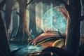 Картинка лес, вода, деревья, улитка, art