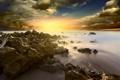 Картинка море, волны, небо, облака, пейзаж, камни, скалы