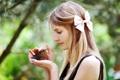 Картинка девушка, настроение, птица