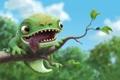 Картинка лес, язык, муха, ветка, ящерица, закуска