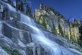 Картинка небо, деревья, горы, река, ручей, скалы, водопад