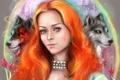 Картинка взгляд, девушка, арт, жемчуг, волки, рыжая, Game of thrones