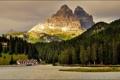 Картинка лес, небо, горы, озеро, дом, Италия, отель