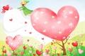 Картинка цветы, эльф, сердечки, полёт, детские обои