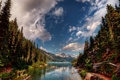 Картинка лес, горы, река