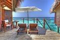 Картинка шезлонги, Мальдивы, лето, океан, курорт, бунгало