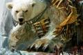 Картинка обломки, люди, медведь, арт, цепи, гигантский, Guild Wars