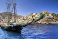 Картинка море, город, фото, корабль, дома, парусник