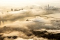 Картинка город, туман, река, дым