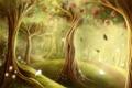 Картинка листья, лес, дорожка, яблоки, деревья, арт, тропинка