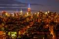 Картинка облака, ночь, огни, Нью-Йорк, горизонт, Манхэттен, Эмпайр-стейт-билдинг