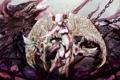 Картинка девушка, кровь, дракон, крылья, аниме, арт, цепи