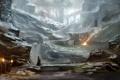 Картинка снег, мост, река, камни, замок, скалы, арт