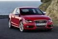 Картинка Audi, Красный, Море, Машина, Седан, Фары, Передок