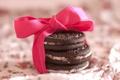 Картинка подарок, еда, печенье, лента, шоколадное