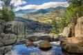 Картинка деревья, пейзаж, горы, река, камни, скалы