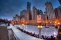 Картинка зима, город, вечер, Чикаго, каток, США, Chicago