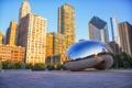 Картинка город, утро, Чикаго, Иллиноис, монумент, Миллениум парк