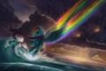 Картинка море, облака, мультфильм, пони