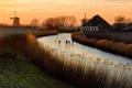 Картинка закат, река, лёд
