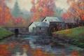 Картинка лес, река, рисунок, арт, artsaus, the water wheel